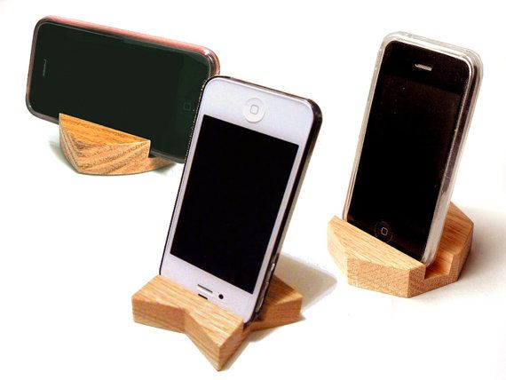 This hand-crafted and sanded oak stand holds iPhone, iPad, Galaxy S, Galaxy Note, Galaxy Tab, and many other gadgets sturdily and stylishly. This