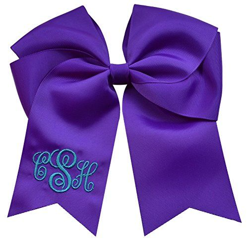 Custom Monogrammed Elastic Ponytail CHEER BOW with EMBROIDERED Initial Script By Funny Girl Designs - YOUR COLORS (Light Blue Cheer Bow)