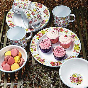 Julie Dodsworth 12 Piece Enamel Tableware Set #kaleidoscope #garden