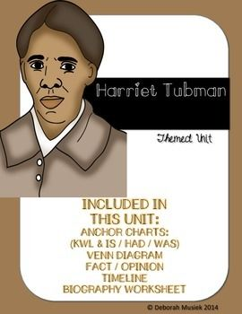 This unit about Harriet Tubman includes activities to get your students engaged into learning about Black History Month in February. The unit includes anchor charts, KWL charts, venn diagram, a biography activity, a fact and opinion activity, a timeline piece and a writing activity.