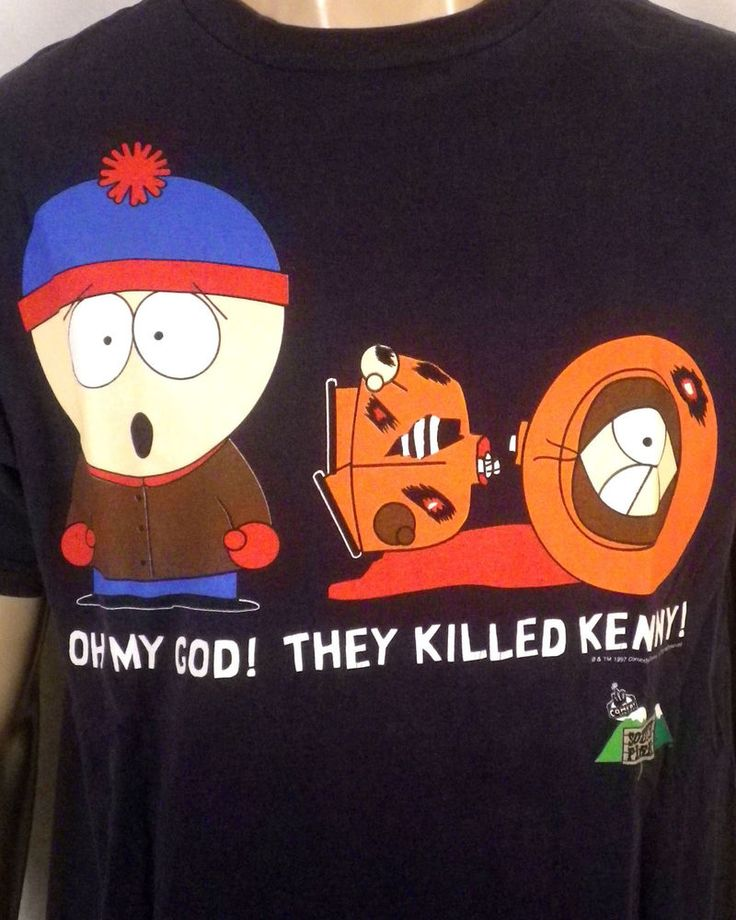 TRUE vtg 90s original South Park They Killed Kenny T-Shirt 1997 comedy central L