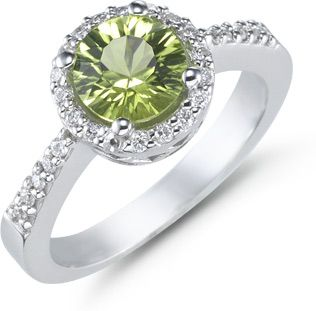 I really want this to be my wedding ring<3    applesofgold.com - 1.50 Carat Peridot and Diamond Ring, 14K White Gold