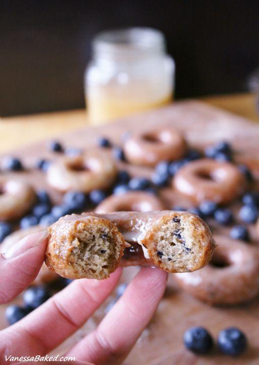 mmmm Blueberry cake doughnuts Baked Blueberry Donuts with Honey Glaze - Vanessa Baked