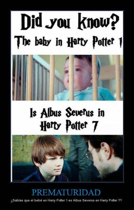 PREMATURIDAD - ¿Sabías que el bebé en Harry Potter 1 es Albus Severus en Harry Potter 7?