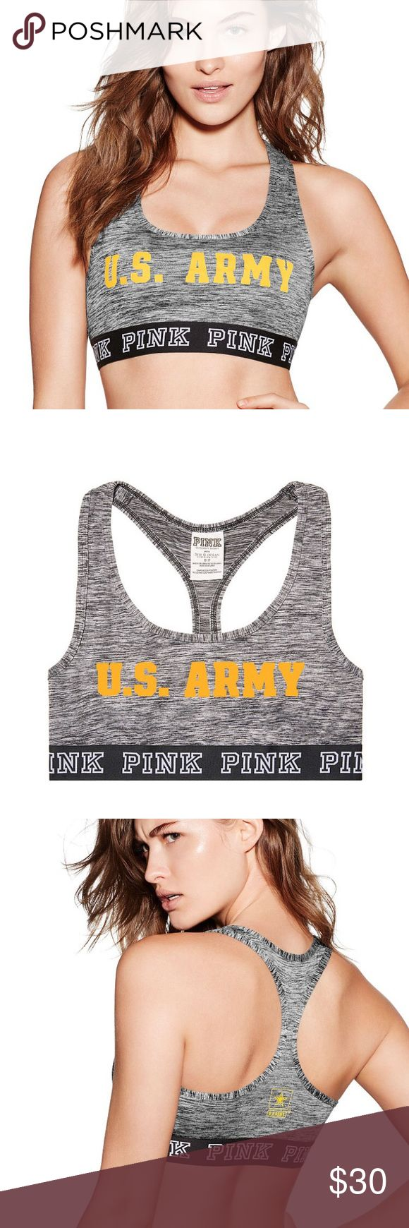 NWT Victoria's Secret PINK ARMY Logo Crop Bra NWT!!! US ARMY Sports Bra.....Victoria's Secret PINK...features collegiate graphics...banded elastic..perfect for sporty layering under your tees and hoodies! PINK Victoria's Secret Intimates & Sleepwear Bras