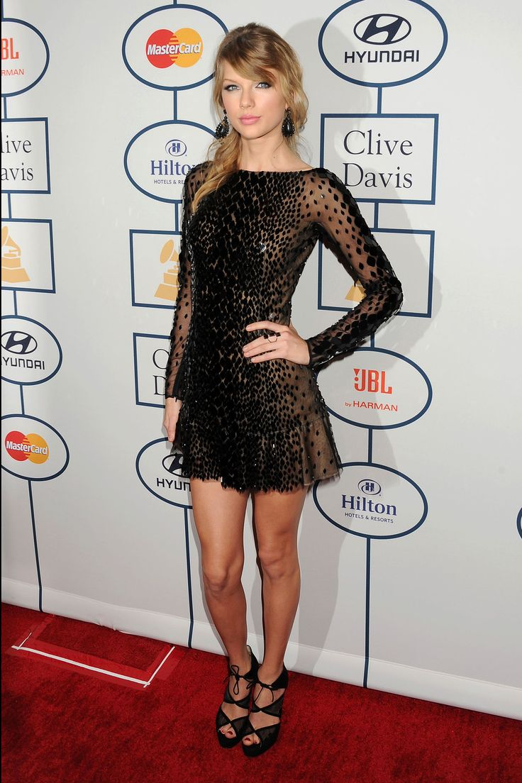 black spotted Zuhair Murad #dress :: Taylor Swift at Clive Davis' #Grammy party