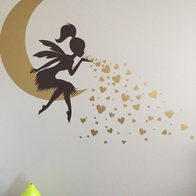 Fairy Wall Decal Fairy Blowing Hearts Fairy Blowing Kisses Etsy Wall Decal Fairy Simple Wall Paintings Diy Wall Painting