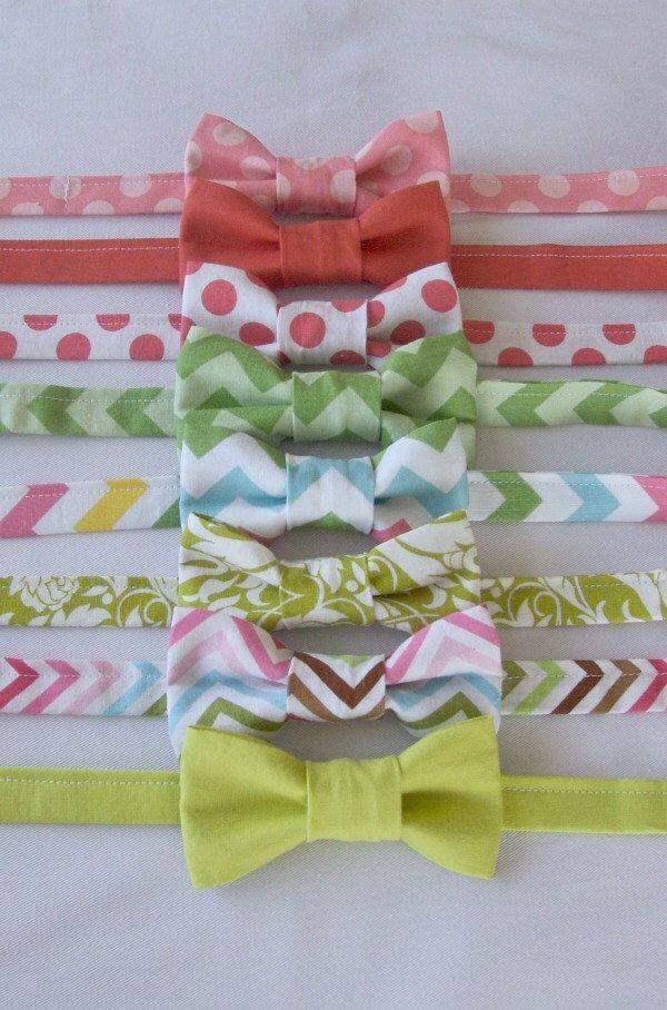 Boys Bow Ties - Pink Green - Baby Toddler Kids - Polka Dot Chevron Damask - Cake Smash Ring Bearer by EvaandDell on Etsy