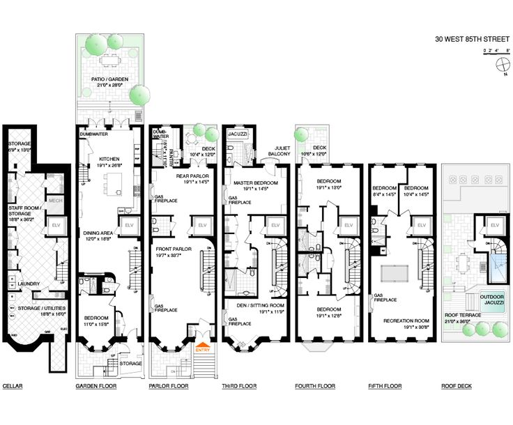 102 best images about townhouse floor plans on pinterest for Manhattan townhouse for sale