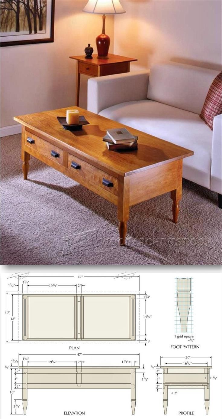 Shaker Coffee Table Plans - Furniture Plans and Projects | WoodArchivist.com