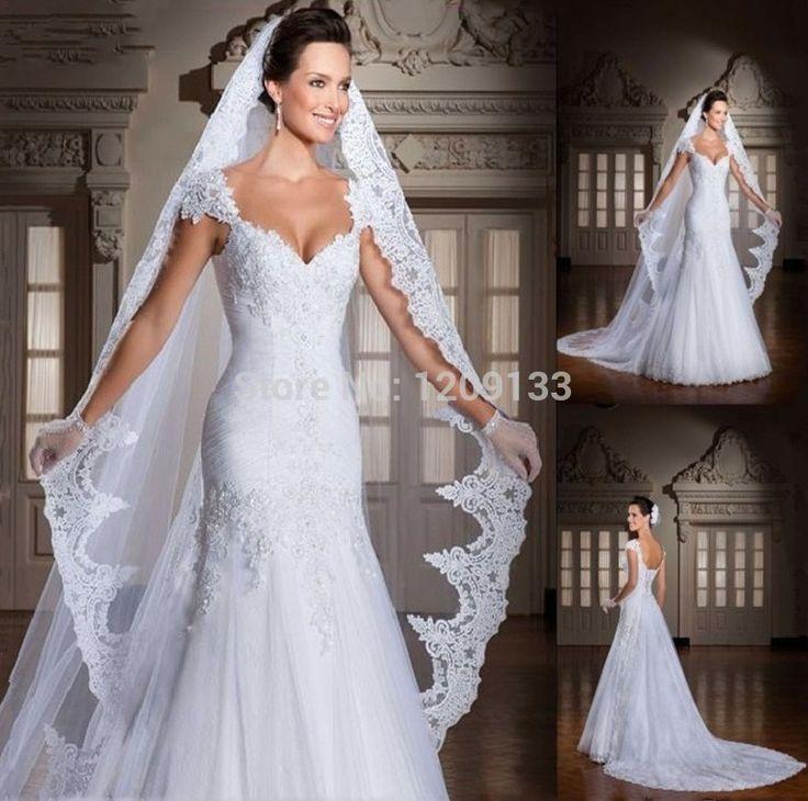 Романтические свадебные платья 2015 модные аппликации sexy милая шеи cap рукавом кружева свадебные платья vestido де noiva курто