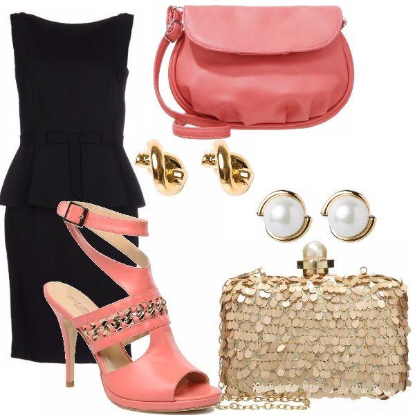 Due alternative per il tubino nero (questo in versione peplum): con un bel sandalo alto rosa si possono abbinare o una pochette dello stesso rosa con orecchini d'oro a riprendere il decoro del sandalo, oppure pochette in paillettes dorate con particolare di perla, ripreso dagli orecchini. Très chic!