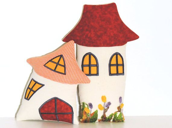 House Pillow Happy Houses Pillow  Stuffed Toy by Customquiltsbyeva