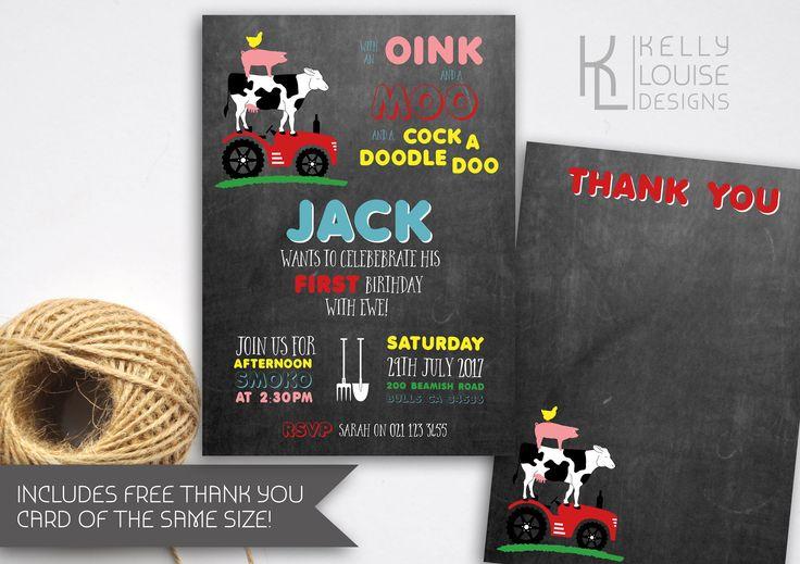 Old MacDonald Birthday Invitation | Farmyard Birthday Invitation | Farm Animals | Tractor Invitation | Old MacDonald Party | Farm Party(183) by kellylouisedesigns on Etsy