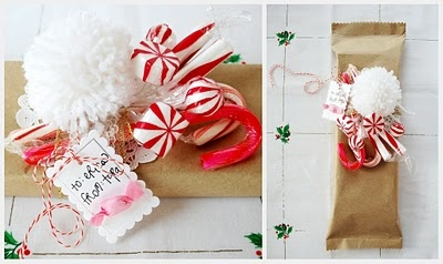 christmas gift-wrapHoliday Gift, Pink Couch, Diy Gift, Gift Wraps, Christmas Packaging, Candies Canes, Pom Pom, Christmas Wraps, Wraps Ideas