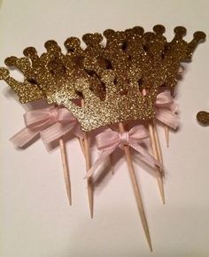 Crown Cupcake Toppers Pink Gold Princess Party by EricasCrafties