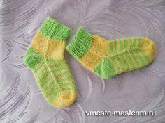 вязание носков на двух спицах: мастер-класс