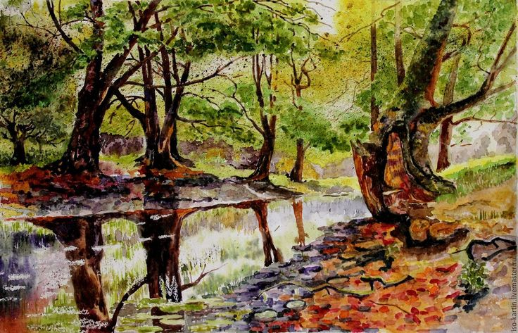 Купить Летний пейзаж. Акварель - оливковый, лес, летний пейзаж, картина акварелью, купить пейзаж