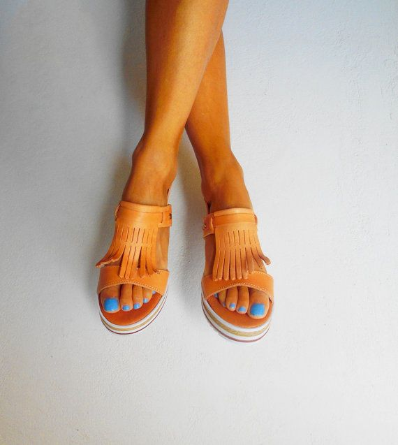 Fringed Leather Sandals, Boho Sandals, Platform Leather Sandals, Fringed Espadrilles, Greek Sandals ''Frida''