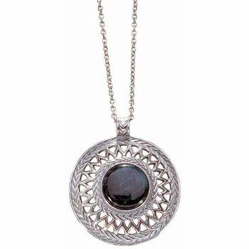 Kalevala Uskela Round Spectrolite Silver Pendant Necklace - Click to enlarge