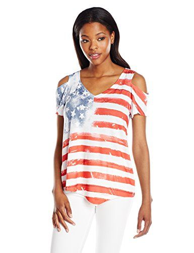 OneWorld Women's Short Sleeve Cold Shoulder American Flag Tee, Americana Painting/White, M   Special Offer: $26.00      433 Reviews Short sleeve cold shoulder patriotic flag fashion tee with v-neck.Short sleeveCold shouldersFlag printRed white and blueV-neck