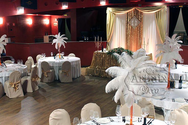 Оформление свадьбы во Дворце Олимпия | Украшение свадебного зала в стиле Гэтсби - Артмикс Декор
