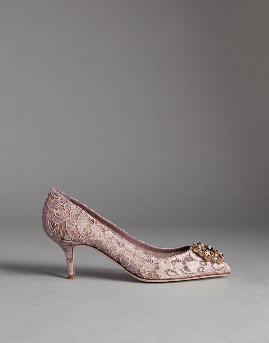 TAORMINA LACE BELLUCCI PUMPS WITH BROOCH  - Closed-toe slip-ons  - Dolce&Gabbana - Winter 2015