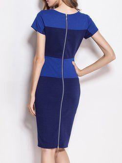 Algodón de manga corta elegante mangas de color bloque de trabajo de cuello vestido de trabajo