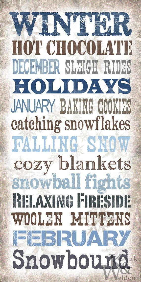 Winter Sayings Typography Print  10x20 by KeswickandWeldon on Etsy, $22.00