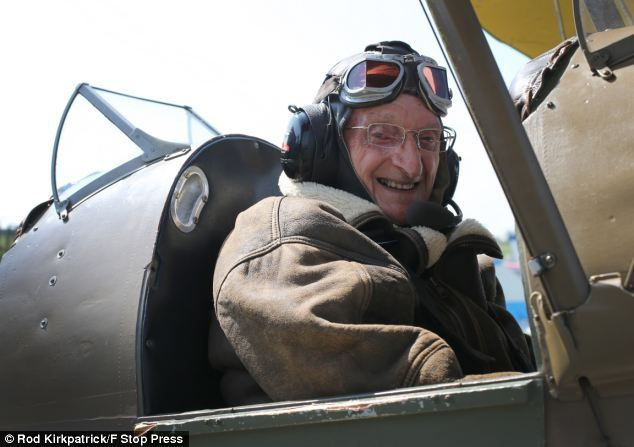 In the driving seat: Mr Lamprey, from Ackworth, West Yorkshire, flew in the Tiger Moth for the first time in seventy years last autumn