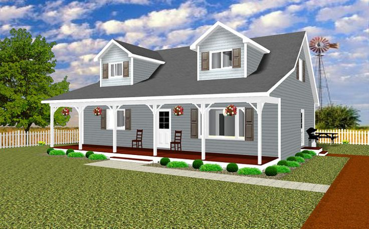 Capecod 3 bedroom open floor plan master on ground for Cape cod house with porch