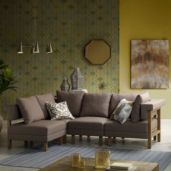 INK+IVY Max Grey Natural Corner Sectional Sofa