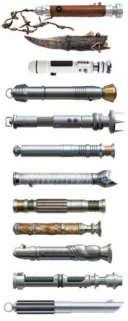 Lightsabers, It is so amazing thinking about how hard they tried to make each saber different even if you don't really see them up close in the movies.