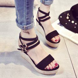 SHARE & Get it FREE | Stylish Double Buckle and Wedge Heel Design Sandals…