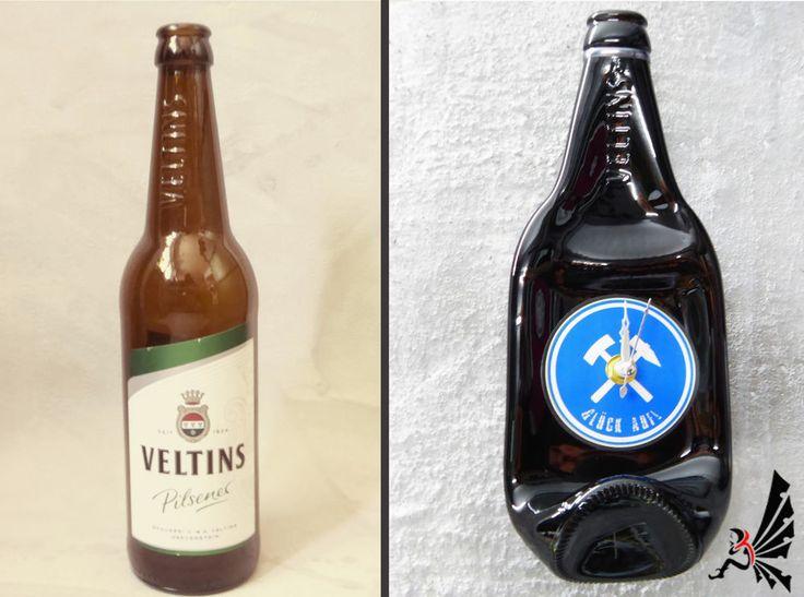 WandUhr  *Veltins / Schalke / Glück Auf* - Stadion Bier Flasche Uhr Geschenkidee #FCSchalke04