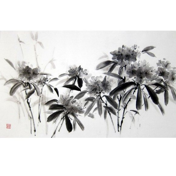 Japanese Ink Painting,Suibokuga,Sumi-e, Asian painting, Rice paper, Black and White, Large 18x29 inch, Danced Rhododendron. - pinned by pin4etsy.com