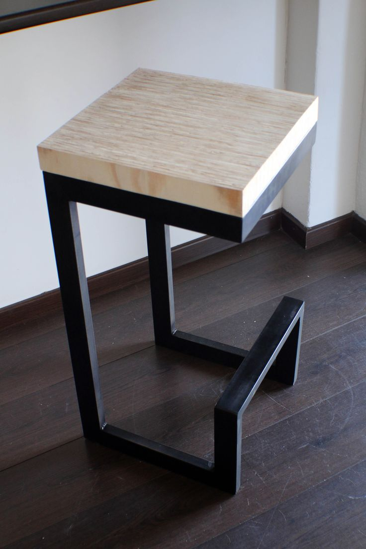 MK Design Bar chair. Steel tubing frame and solid plywood top.