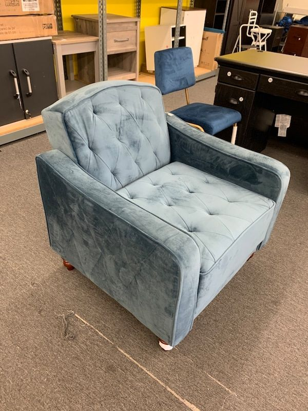 Used Cute Blue Velvet Accent Chair Retails X 251 For Sale In Houston Letgo In 2020 Blue Velvet Accent Chair Velvet Accent Chair Accent Chairs #used #living #room #chairs
