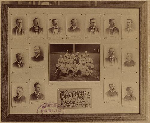 File name: 06_06_000121 Title: American Association Boston Reds team of 1891 Creator/Contributor: Conly, C. F. (photographer) Created/Published: Date created: 1891 Physical description: 1 photographic print : albumen silver print Description: Copy photograph of a framed display including the team picture of the 1891 American Association Boston Reds team and individual formal portraits of players, including: Bill Joyce, Morgan Murphy, Bill Daley, Arthur Irwin, Hugh Duffy, C...