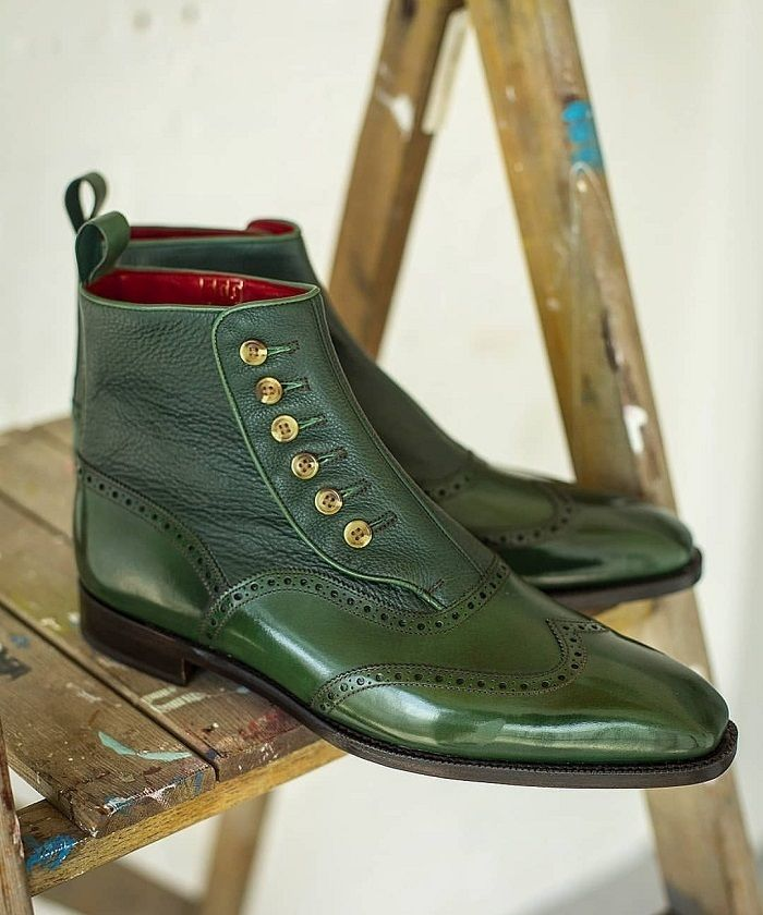 60759b5e6769a Handmade Men 2 Tone Green Leather Boot, Men Ankle High Button Formal ...