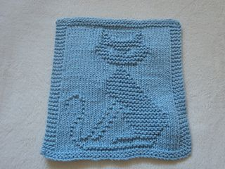 Cat! Dishcloth (hopefully to use for a blanket for my baby kitty) - Free Pattern