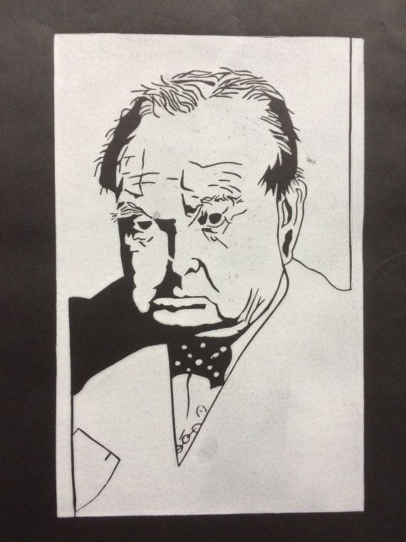 Linocut portrait 'Sir Winston Churchill'  original by BonnysLoft