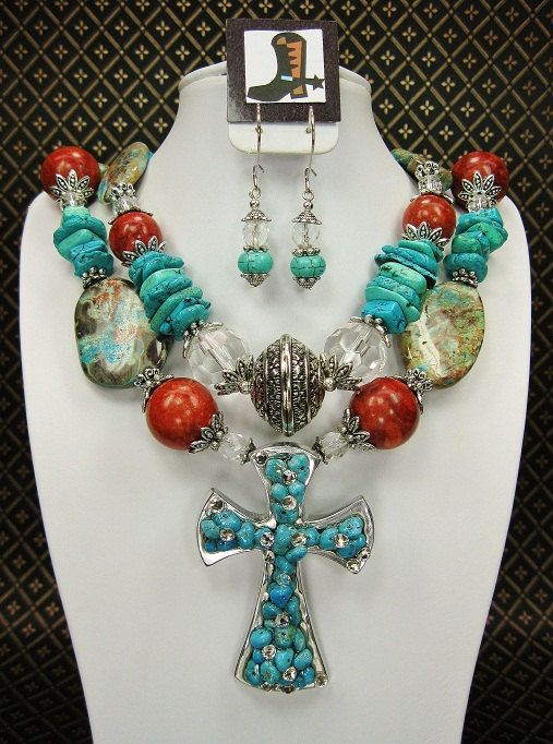 TURQUOISE and CORAL Chunky Western Cowgirl by CayaCowgirlCreations, $55.50