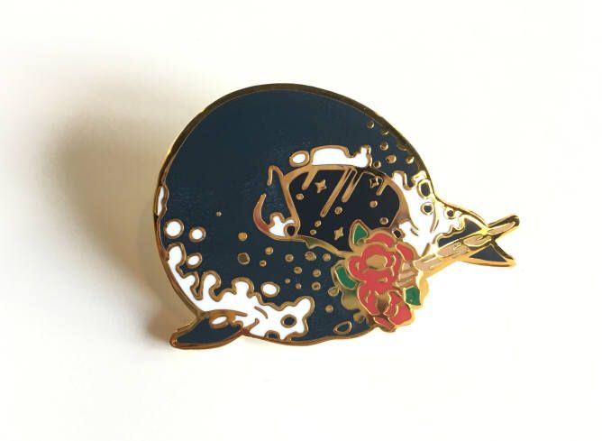 Narwhal(Horn Whale) with Florals Enamel Pin by oibbul on Etsy