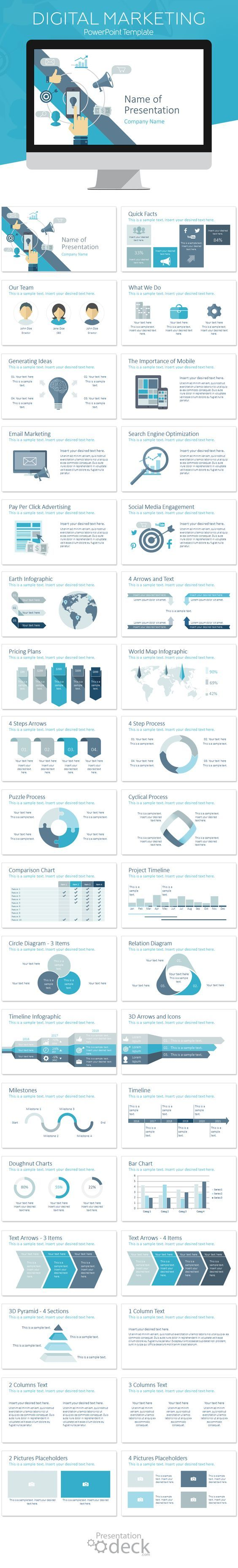 Digital marketing PowerPoint template in flat design style including 36 pre-designed slides. This theme is perfect for digital agencies, for presentations on marketing strategies, SEO, SMM, lead generation, etc. #presentations #business #conversion:
