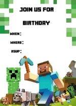 Free Printable Minecraft Invitations