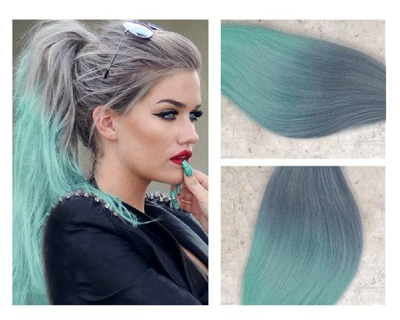 """Full Set Ombre Grey Hair Extensions // Silver to Mint Green Ombre Hair Extensions // Silver Mint Remy Clip-In Hair Extensions 18"""" - 24"""""""