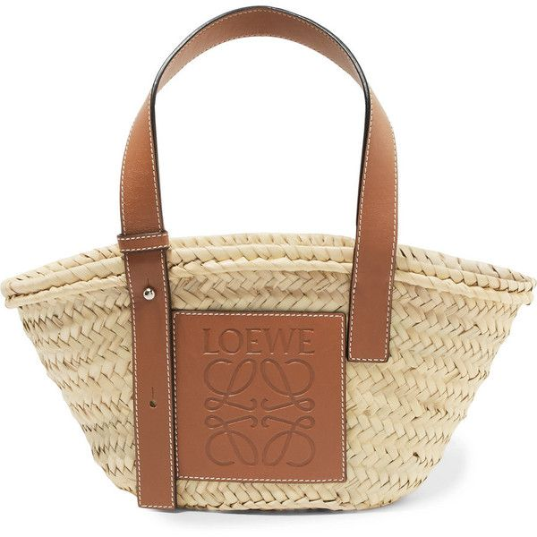 8a30d555664c Loewe Loewe - Small Leather-trimmed Woven Raffia Tote - Tan (€255) ❤ liked  on Polyvore featuring bags
