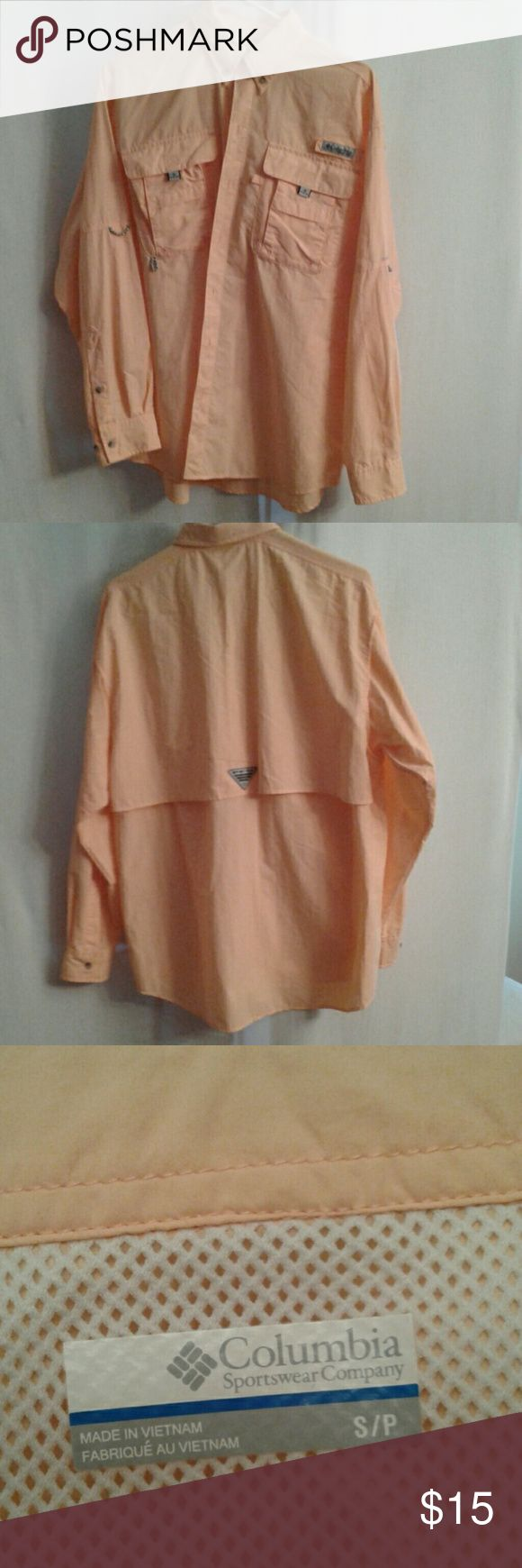 Columbia PFG long sleeve shirt sz S Orange sherbet, Bahama II, long sleeve, button down, quick-drying nylon, relaxed fit, angler's shirt in EUC.  Velcro close pockets and mesh-lined cape vent. Double button cuffs to convert to short sleeve. Built in UPF 30 sun protection and hidden shoulder vents. Columbia PFG Shirts Casual Button Down Shirts