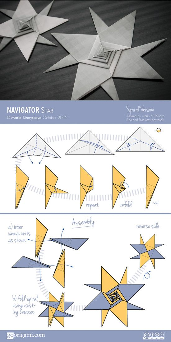Learn how to fold 8-pointed modular origami star from only 4 units. Diagram for Navigator Star (designed and diagrammed by Maria Sinayskaya)